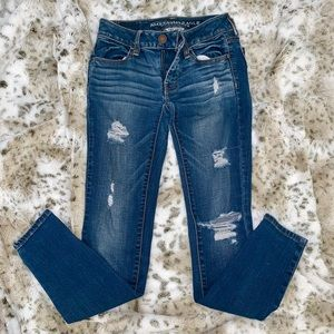 American Eagle Blue Ripped Jeans-Size 0